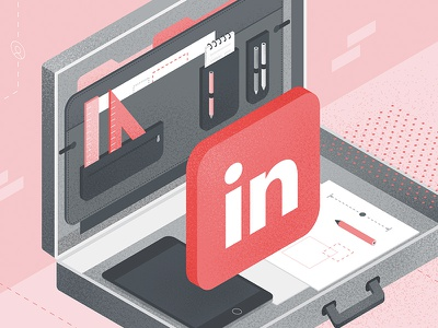 LinkedIn for Building Manufacturers pen tablet ipad suitcase linkedin texture vector illustration social media isometric