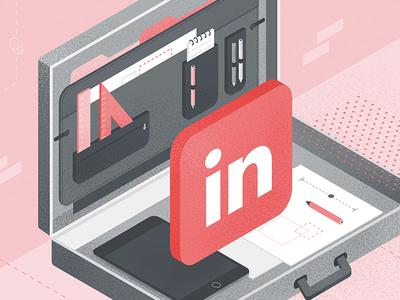 LinkedIn for Building Manufacturers pen tablet ipad suitcase linkedin texture vector illustration social media isometric