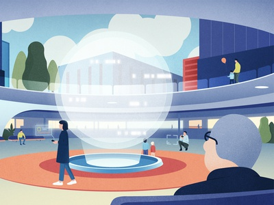 High-Peformance Building perspective texture illustration character people digital innovative futuristic building