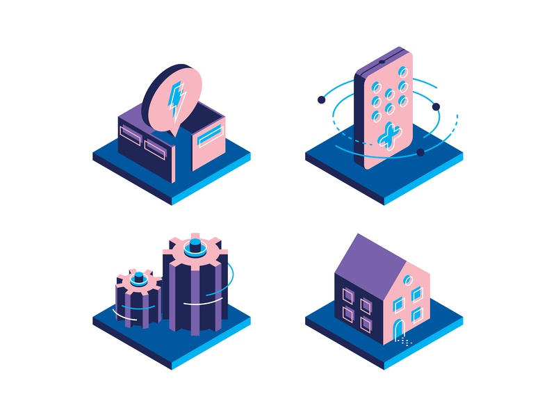 Fast Company Icons isometric icons iconography vector fastcompany house remote gears cubicle