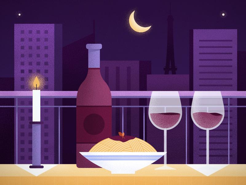 Date Night in Paris texture digital illustration vectors wine city night date dinner candle paris