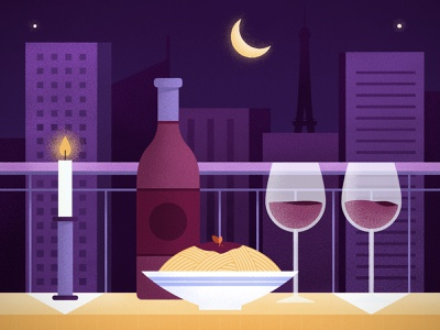 Date Night in Paris texture digital illustration vectors wine city night date dinner candle paris