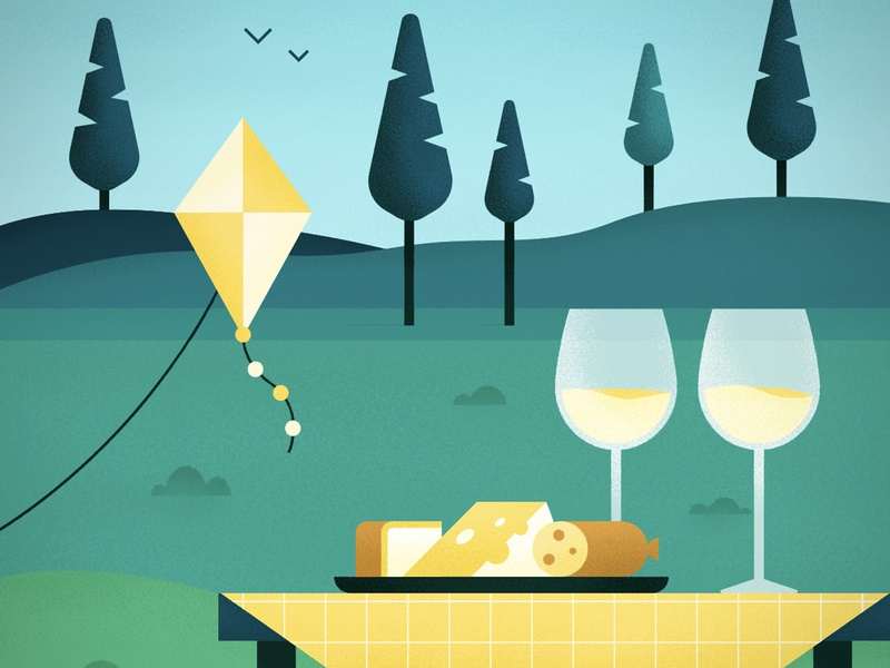 Picnic in the Park nature cheese tree park wine digital texture illustration vector