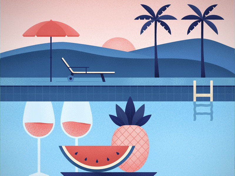 Summer watermelon pineapple fruit pool summer palmtree palms sunset wine digital texture illustration vector