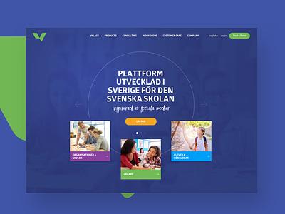 Vklass Website green blue responsive jumbotron education header