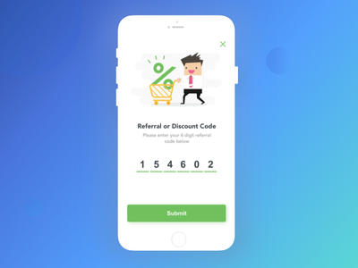 Referral Code character popup illustration code mobile discount code referral code