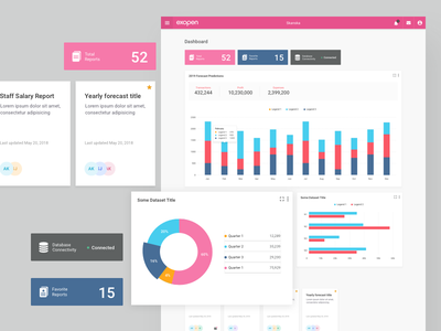 Reporting Tool Dashboard pink design app bar chart column chart cards reports admin theme graph charts dashboard