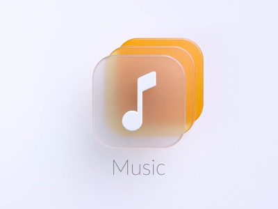 Frosted Music Icon mobile android app 3d music music icon music icon design illustration octane ads web branding logo graphic design 3d animation ui c4d