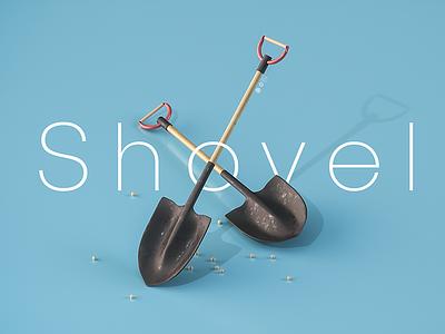 Shovel ui game toy design photoshop octane c4d isometric shovel