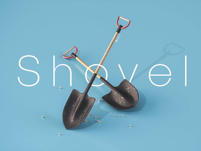 Shovel ui game toy design photoshop octane c4d isometric shovel