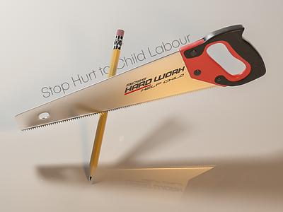 Child Labour web modeling octane poster design isometric pencil child c4d cinema4d