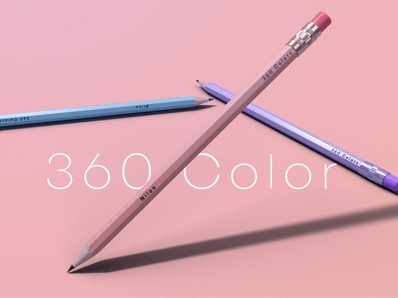 Pencil web ui isometric comercial cinema4d c4d ads 3d kid school pencil color