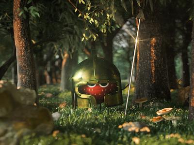 Strawberry warrior vfx aftereffects characterdesign character design character cgi design octane graphic design animation game art game c4d