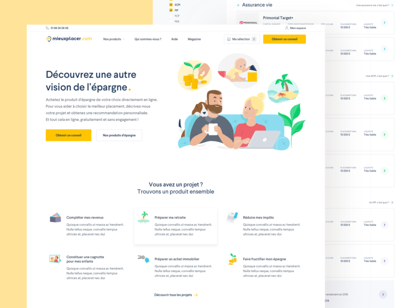 Mieuxplacer.com - Case study illustration case study ui website