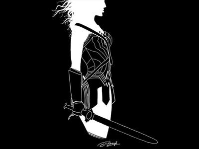 Wonder Woman Negative Line Art