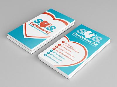 Cat SOS logo & business card design shelter help rescue animal cat sos stationary business card logo design logo