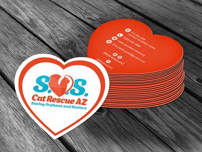 Cat SOS logo & business card design heart shelter rescue sos cat stationary business card cat sos logo design logo