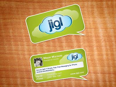logo & business card proposal for Jigl social messenger app application jigl stationary business card logo design logo