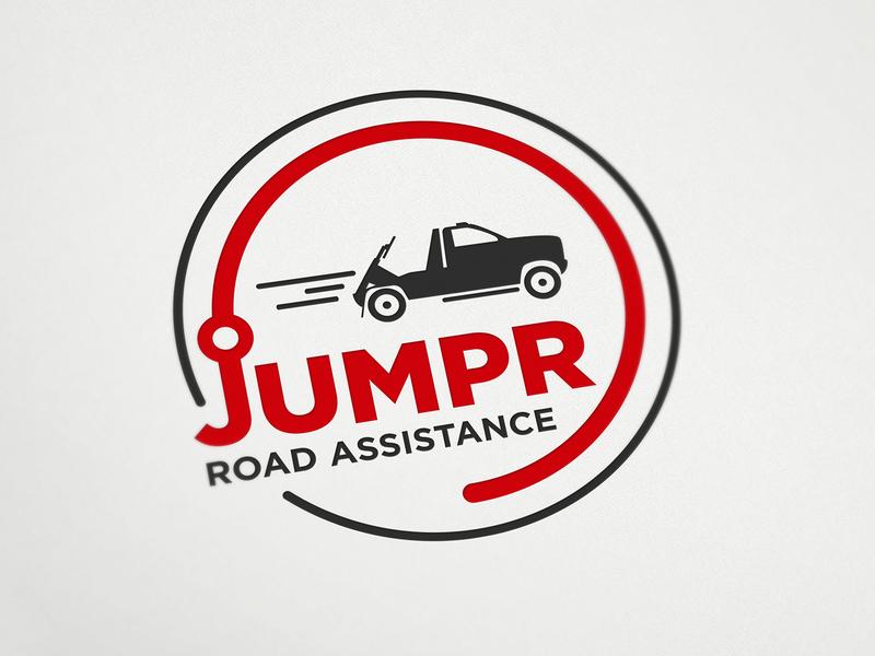 Jumpr logo emblem towing canada road assistance logo design