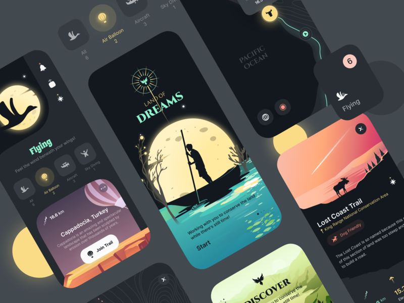 Land of Dreams figma dark theme dark mode dark ui dark camping calendar app calendar illustration design ux uiux app ui dreams land