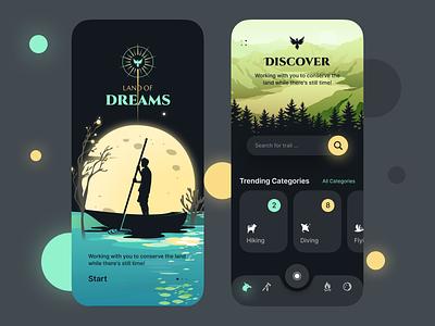 Land of Dreams figma dark theme dark mode dark ui dark camping calendar app calendar illustration design ux uiux app ui dreams land