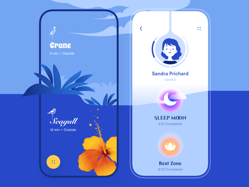 Meditation - Mobile App orange blue profile level task zone rest moon sleep outside meditation app meditation