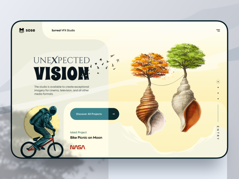 Surreal VFX Studio - Website HERO Section orizon birds illustration projects project vision nasa tree uidesign uiux ux ui hero section hero banner hero image web design website web