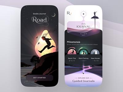 Road App - Goals Journal road daily milestones uiux ux ui app illustration design goals