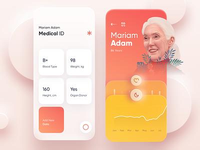 ♥️ Health App Concept mobile b id health medicine medical illustration menu dashboard design ui app