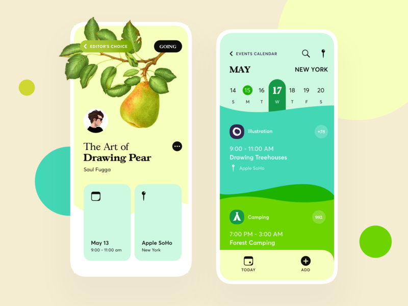 Events App camping apple soho pear green calendar event calendar design calendar app calendar ui events app