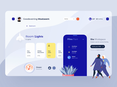 Modern Dashboard#2 - Home uiuxdesign uiux design cooling music plants plant rooms room lights she uiux ux ui home dashboard dashboard