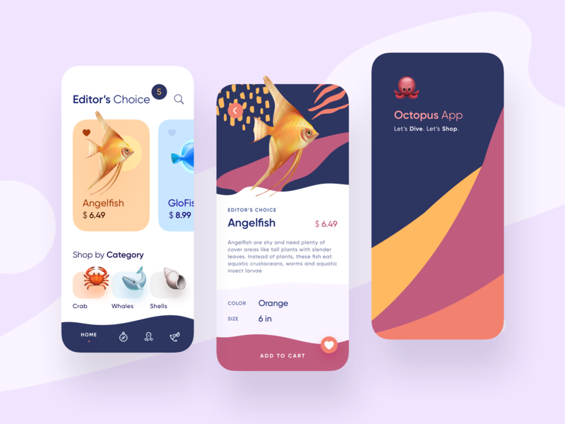 Octopus App add to basket add to bag shells crabs fish octopus design ux uiux app ui