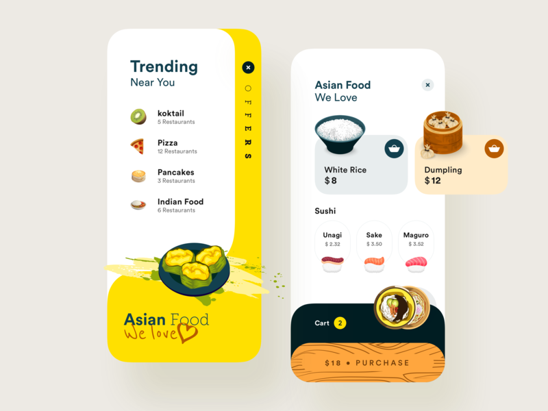 Food App illustration design app ux uiux ui food food app