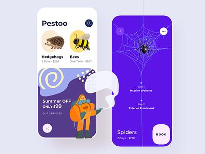 Pest Control App pest control pestoo pestoo illustration design ux uiux app ui