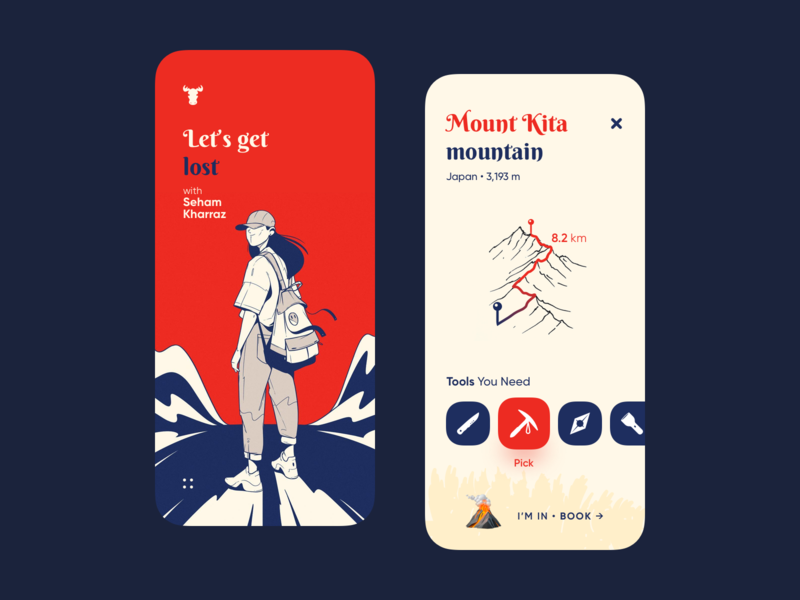 Let s get  lost - Adventure App book trak mountain map adventures adventure adventure app app illustration design uiux ux ui