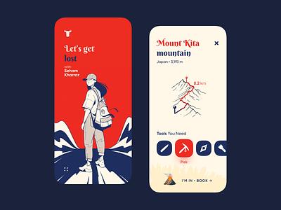 Let s get  lost - Adventure App book trak mountain map adventures adventure adventure app app illustration design uiux ux ui