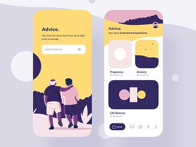 Advice App life balance anxiety pregnancy yellow advice illustration design ux uiux app ui