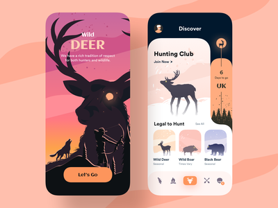 Wild Deer - Mobile App club hunting boar bear orange wild deer illustration design app ux ui uiux