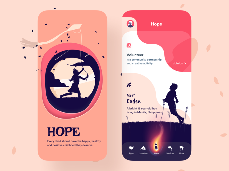 Hope - Mobile App yellow orange services rights app illustration design uiux ux ui children child hope