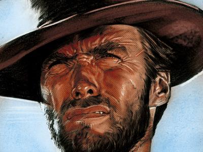 Portrait of Clint Eastwood alternative movie poster movie poster film western clind eastwood actor illustration portrait