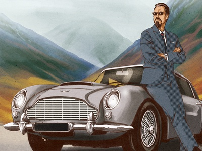 Sunday Drive advertising illustration portrait advertising beer lable art landscape mountains suit figure man car illustration
