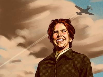 Female Service Pilot #2 photoshop pencil digital portrait editorial americano ww2 plane 1950s style vintage retro illustration