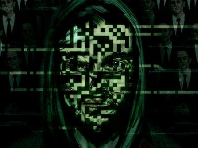 Mr Robot, poster spy submission advertising illustration dark green pen and ink digital computer motifs portrait illustration alternative tv poster poster