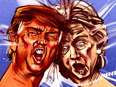 Trump vs Clinton (thumb war) american editorial comment funny cartooning illustration political satire us presidential debate portraits