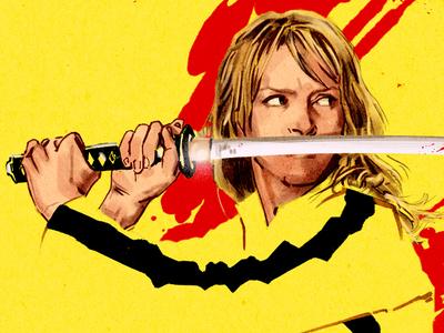 Kill Bill, The Bride hand drawn promotion character fan art digital pen and ink portrait film movie illustration alternative movie poster advertising