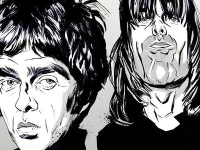 Oasis, Caricature editorial illustration digital illustration hand drawn pen and ink black and white halftone portraits caricature band music oasis