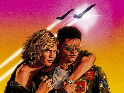 Top Gun alternative movie poster pen and ink digital painting planes figures portrait poster fan art illustration advertising