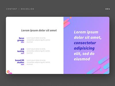 content slide ui gradient case study keynote vector design slide design slide deck content page slides