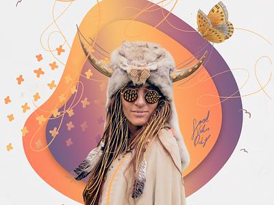 festival design system branding illustration gradient midsommar summer festival poster woman