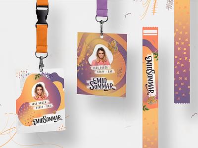 Id Cards gradient illustration branding midsommar summer festival design id